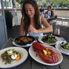 Jackie eating lunch at Rowayton Seafood