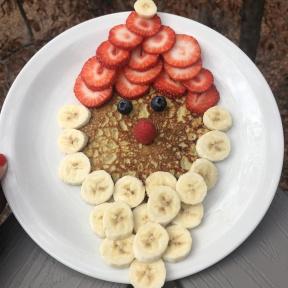 Gluten-free Santa Pancake made with fruit