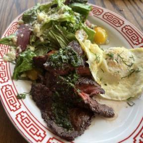 Gluten-free steak salad from Almond in Palm Beach