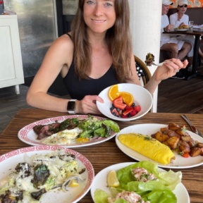 Jackie eating at Almond in Palm Beach