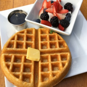 Gluten free waffle with yogurt and berries from Venice Ale House