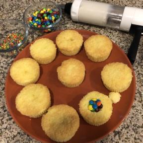 Making gluten-free Pinata Cupcakes