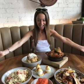 Jackie eating at Yardbird in LA