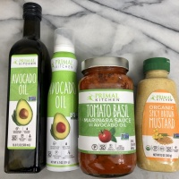 Avocado oil, tomato sauce, and mustard by Primal Kitchen