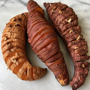 Hasselback Sweet Potatoes with nuts