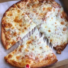 Gluten-free cheesy pizza from Abbot's Pizza Company