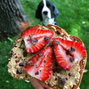 Almond Butter Toast with Chocolate Flakes & Strawberries