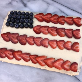 Gluten-free Flag Cake with buttercream frosting