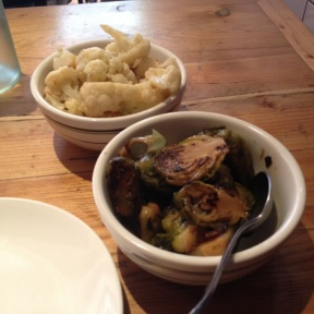 Gluten-free brussels sprouts and cauliflower from Aria Wine Bar