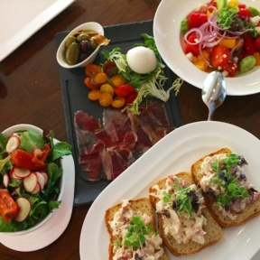 Gluten-free lunch spread from Atrio Wine Bar & Restaurant at the Conrad Hotel