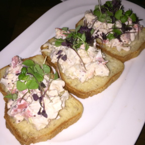 Gluten-free lobster toast from Atrio Wine Bar & Restaurant at the Conrad Hotel