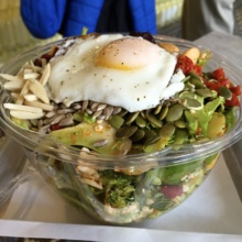 Gluten-free salad with an egg from BEC