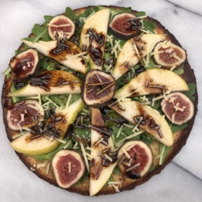 Zucchini Pizza with Pears, Figs, and Balsamic Drizzle on KBosh Foods crust