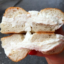 Gluten-free bagel with cream cheese from Bagel Cafe