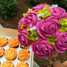 Gluten-free orange and pink flower cupcakes from Baked Bouquet