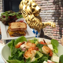 Gluten-free burger and salad from Bavaria Bierhaus