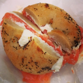 Gluten-free bagel with lox from Baz Bagel