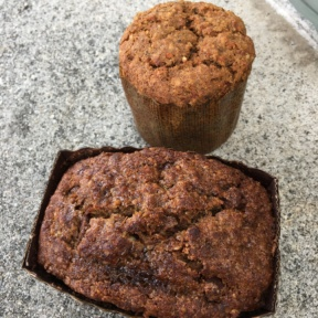 Gluten-free banana bread and muffin from Beaming Organic Superfood Cafe
