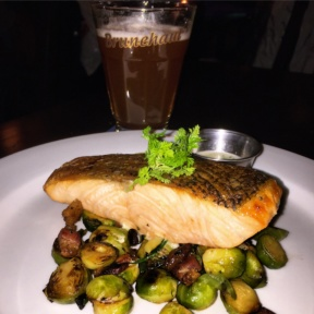 Gluten-free salmon and brussels from Belgian Beer Cafe