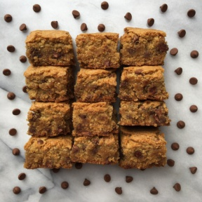 Gluten-free blondies with extra chocolate chips