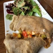 Gluten-free crepe cut in half from Blue Daisy