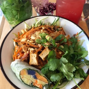 Gluten-free salad and spring roll from BoCaphe