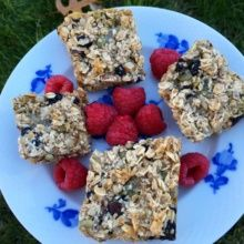 Gluten-free Breakfast Bars with raspberries
