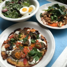 Gluten-free pizza and salads from Cafe Clover