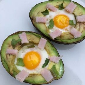 Gluten-free Canadian Bacon Egg Stuffed Avocados
