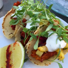 Gluten-free chicken tacos from Cantina Rooftop