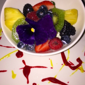 Gluten-free fruit dessert dish from Cantina Rooftop
