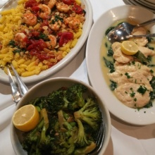 Gluten-free dinner spread from Carmine's