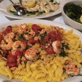 Gluten-free pasta with shrimp from Carmine's