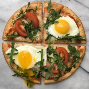 Cauliflower Cheese Pizza with eggs