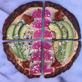 Cauliflower Pizza with Hummus, Watermelon Radish, Avocado, Feta in 4 slices