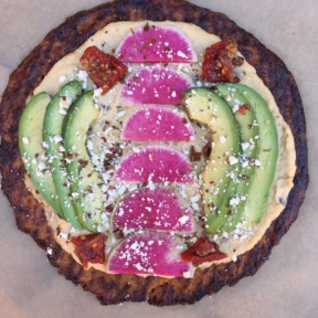 Gluten-free Cauliflower Pizza with Hummus, Watermelon Radish, Avocado