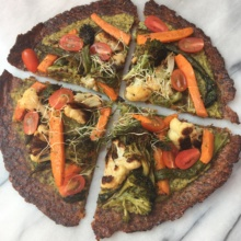 Cauliflower Pizza with Kale Pesto Hummus & Veggies