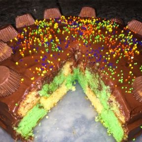 Gluten-free green and yellow Checkerboard Cake