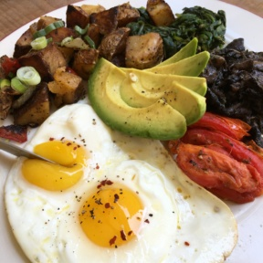 Gluten-free eggs and avocado from Coco & Cru