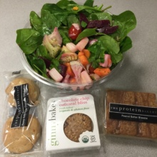 Gluten-free salad and cookies from Complete Body Juice Bar & Frozen Yogurt