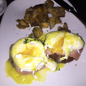 Gluten-free smoked salmon eggs Benedict from Cuba