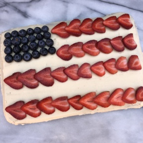 Gluten-free Flag Cake with chocolate cake