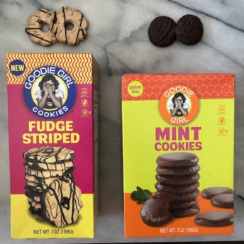 Gluten-free fudge striped and mint cookies by Goodie Girl Cookies