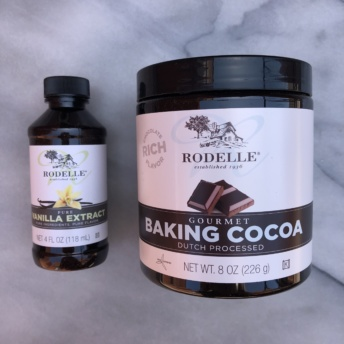 Gluten-free baking cocoa and vanilla extract from Rodelle