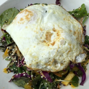 Gluten-free salad with an egg from Dirt Eat Clean