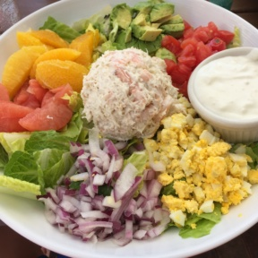 Gluten-free seafood Cobb salad from Dive Bar Restaurant