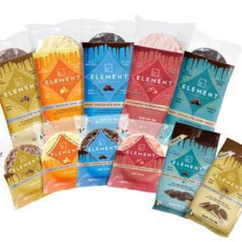 Gluten-free chocolate coated rice cakes from Element Snacks
