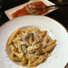 Gluten-free pasta and eggplant parmesan from Felice