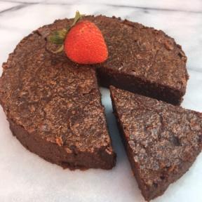 A slice of Flourless Chocolate Cake