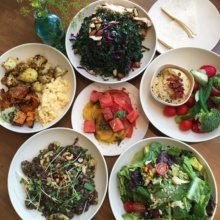 Gluten-free lunch spread from Flower Child